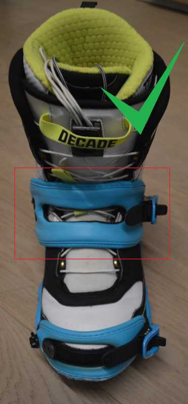 Posizione corretta della strap caviglia o ankle strap.